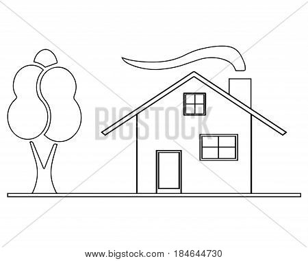 house sketch vector with garden tree and chimney
