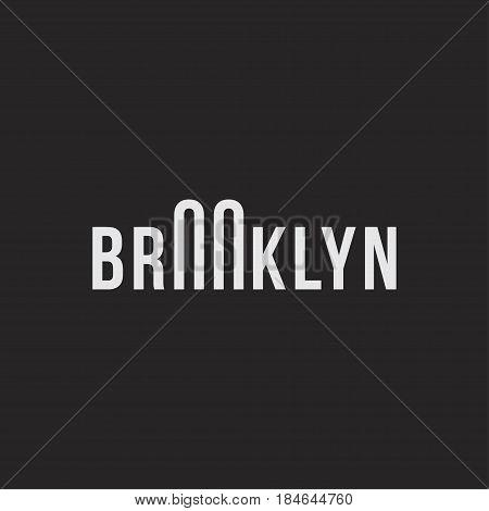Logo of the Brooklyn bridge. Silhouette of the bridge in the font. Flat vector symbol EPS10