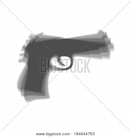 Gun sign illustration. Vector. Gray icon shaked at white background.