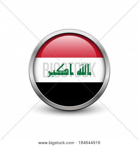 Flag of Iraq button with metal frame and shadow