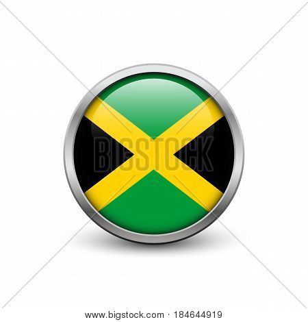 Flag of Jamaica button with metal frame and shadow