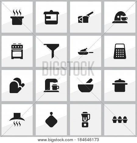 Set Of 16 Editable Cook Icons. Includes Symbols Such As Egg Carton, Utensil, Pot-Holder And More. Can Be Used For Web, Mobile, UI And Infographic Design.