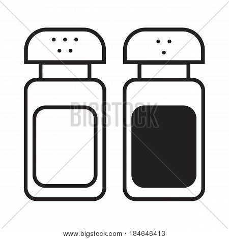 Salt and pepper shakers linear icon. Vector illustration in flat style