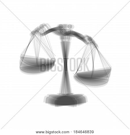 Scales of Justice sign. Vector. Gray icon shaked at white background.