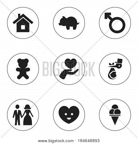 Set Of 9 Editable Kin Icons. Includes Symbols Such As Heart, Home, Moneybox And More. Can Be Used For Web, Mobile, UI And Infographic Design.