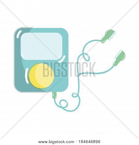 mp3 player with headphones to listen music, vector illustration