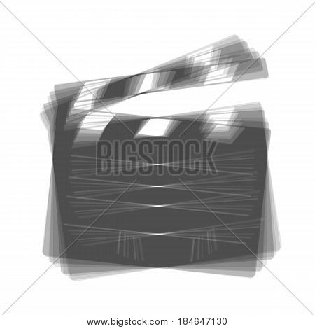 Film clap board cinema sign. Vector. Gray icon shaked at white background.