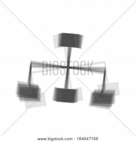 Site map sign. Vector. Gray icon shaked at white background.