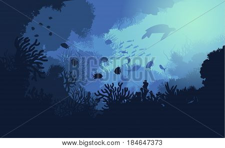 Colorful underwater life template with marine plants swimming fishes and turtle vector illustration