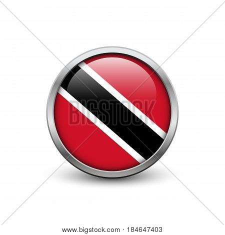 Flag of Trinidad and Tobago button with metal frame and shadow