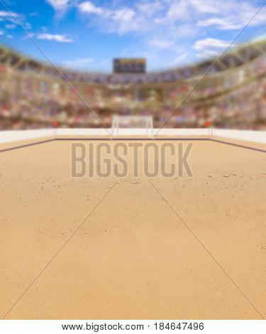 Outdoor beach soccer arena full of fans in the stands. The game is also known as beach football or beasal. Deliberate focus on foreground and shallow depth of field on background and copy space. 3D rendering