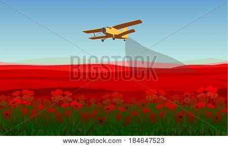 Natural field landscape template with red poppy flowers and plane spraying pesticides vector illustration