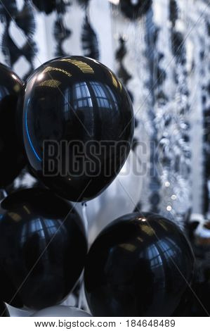 Cute wedding decor with black baloons holiday