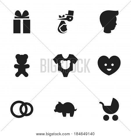 Set Of 9 Editable Kin Icons. Includes Symbols Such As Soul, Boy, Child And More. Can Be Used For Web, Mobile, UI And Infographic Design.