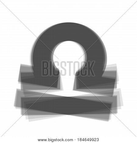 Libra sign illustration. Vector. Gray icon shaked at white background.