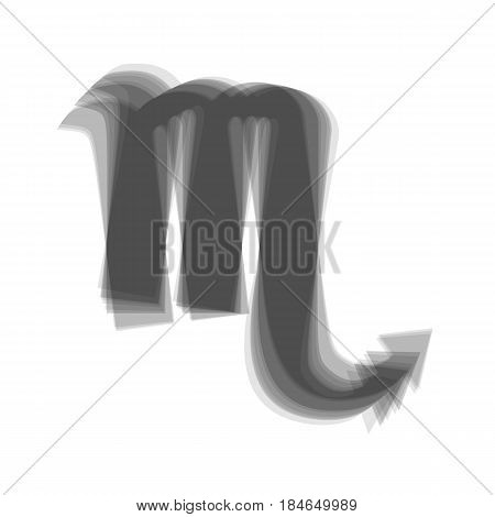 Scorpio sign illustration. Vector. Gray icon shaked at white background.