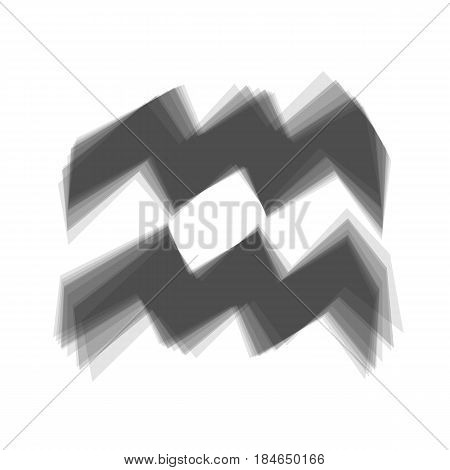 Aquarius sign illustration. Vector. Gray icon shaked at white background.