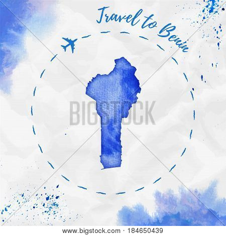 Benin Watercolor Map In Blue Colors. Travel To Benin Poster With Airplane Trace And Handpainted Wate