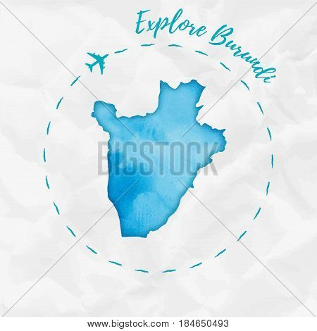 Burundi Watercolor Map In Turquoise Colors. Explore Burundi Poster With Airplane Trace And Handpaint