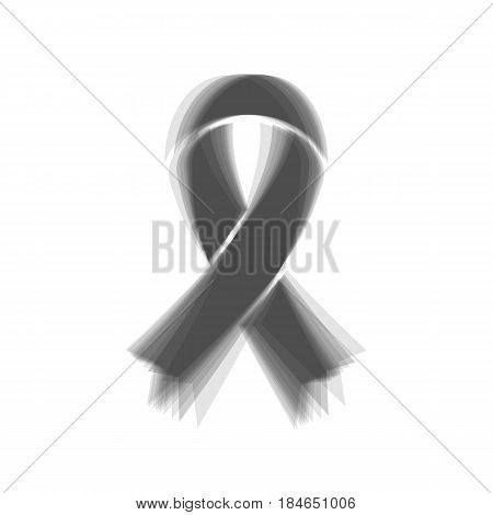 Black awareness ribbon sign. Vector. Gray icon shaked at white background.
