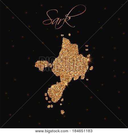 Sark Map Filled With Golden Glitter. Luxurious Design Element, Vector Illustration.