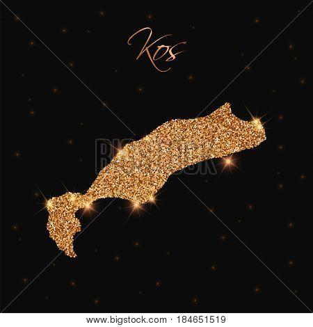 Kos Map Filled With Golden Glitter. Luxurious Design Element, Vector Illustration.