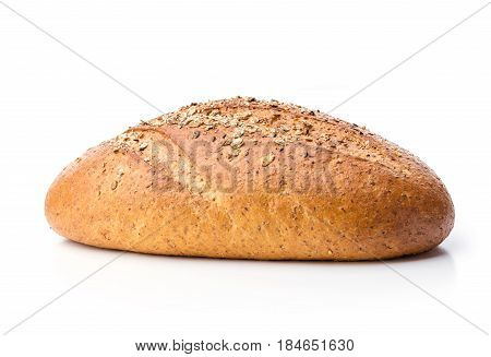 Loaf of wholegrain bread over white background