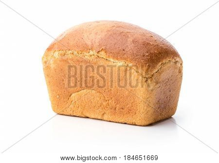 Loaf of wheat bread over white background