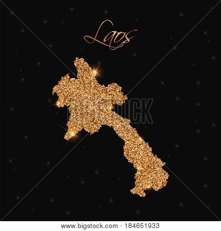 Laos Map Filled With Golden Glitter. Luxurious Design Element, Vector Illustration.