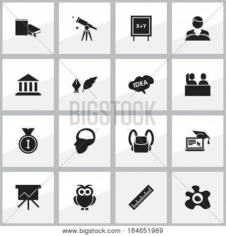 Set Of 16 Editable Science Icons. Includes Symbols Such As Museum, Chart Board, Binoculars And More. Can Be Used For Web, Mobile, UI And Infographic Design.
