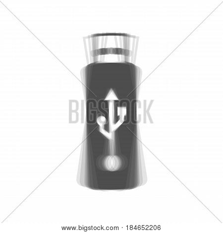Vector USB flash drive sign. Vector. Gray icon shaked at white background.