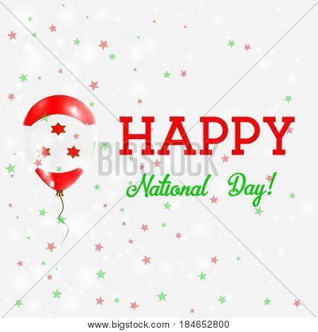 Burundi National Day Patriotic Poster. Flying Rubber Balloon In Colors Of The Burundian Flag. Burund