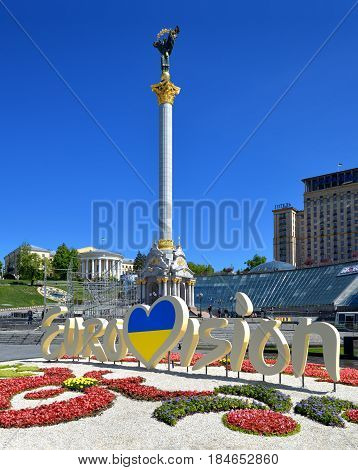 Kiev Ukraine - May 3 2017: Independence square. Maidan. The center of Kyiv on the eve of the Eurovision Song Contest 2017