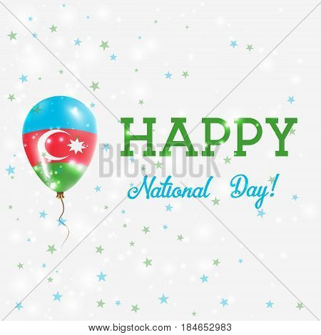Azerbaijan National Day Patriotic Poster. Flying Rubber Balloon In Colors Of The Azerbaijani Flag. A
