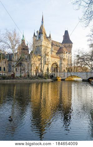 Vajdahunyad Castle, City Park Of Budapest, Is Designed In Different Styles.