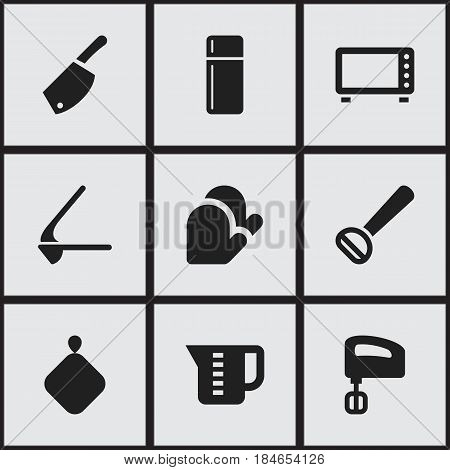 Set Of 9 Editable Cook Icons. Includes Symbols Such As Agitator, Kitchen Glove, Crusher And More. Can Be Used For Web, Mobile, UI And Infographic Design.