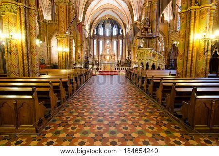 Interior Of Matthias Church In Budapest, Hungary
