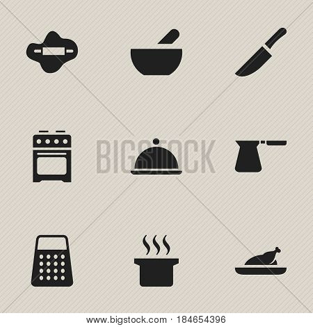 Set Of 9 Editable Food Icons. Includes Symbols Such As Salver, Knife, Soup And More. Can Be Used For Web, Mobile, UI And Infographic Design.