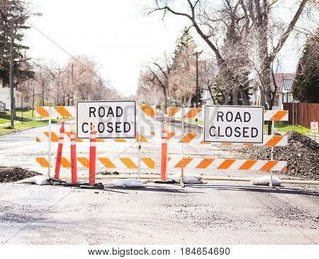 Road Closed Signs On Street
