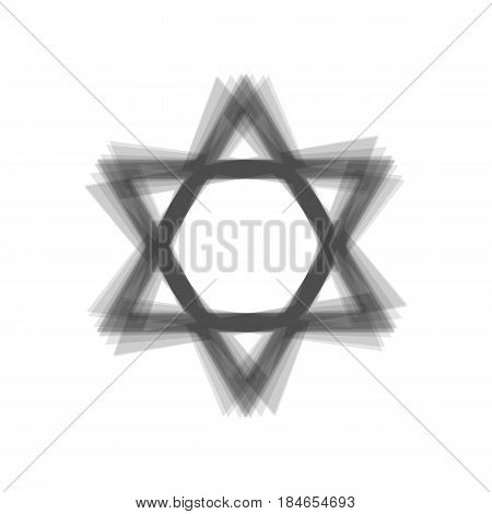 Shield Magen David Star. Symbol of Israel. Vector. Gray icon shaked at white background.