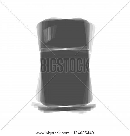 Refrigerator sign illustration. Vector. Gray icon shaked at white background.
