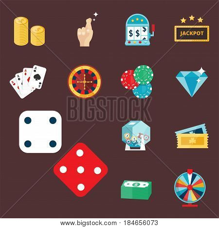 Casino game icons poker gambler symbols and blackjack cards money winning with roulette gambler joker slot machine concept vector illustration. Fortune roulette success entertainment play coin.