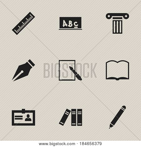 Set Of 9 Editable University Icons. Includes Symbols Such As School Board, Notepaper, Certification And More. Can Be Used For Web, Mobile, UI And Infographic Design.