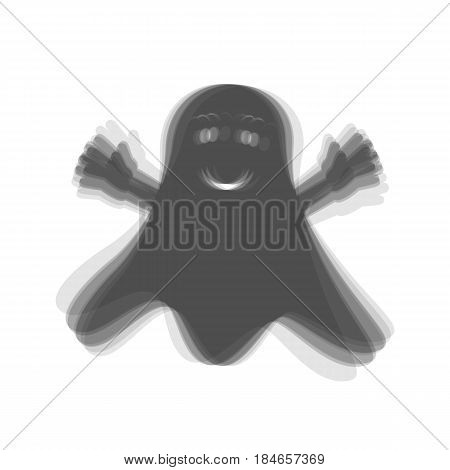 Ghost isolated sign. Vector. Gray icon shaked at white background.