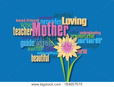 Graphic composition of personality traits of a mother. Art suitable for use as greeting card design or other creative tribute to mothers.