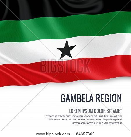 Gambela Region flag. Flag of Ethiopian state Gambela Region waving on an isolated white background. State name and the text area for your message. 3D illustration.