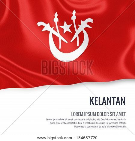 Kelantan flag. Flag of Malaysian state Kelantan waving on an isolated white background. State name and the text area for your message. 3D illustration.