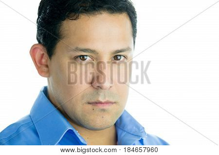 Closeup portrait of confident actor headshot isolated white background