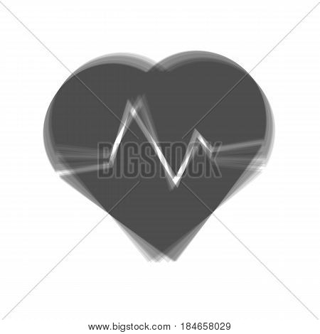 Heartbeat sign illustration. Vector. Gray icon shaked at white background.