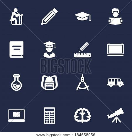 Set Of 16 Studies Icons Set.Collection Of Marrow, Reading, Drawing Tool And Other Elements.
